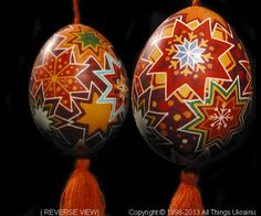 PYS13109 (Stand Not Included).  This Ukrainian Pysanky was created by the Artist: Iryna-Lviv.  This Pysanka is made from a Chicken Egg as a Christmas Ornament.