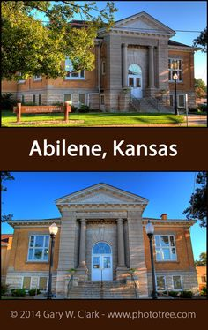 A classic style, well-preserved, and still housing part of the public library while being expanded numerous times. Truly a regal building. FACTS: Abilene, Kansas (Butler County; Built: 1908: Funded $12,500, Latitude: 38.919722; Longitude:  -97.217222 Latitude 38, Abilene Kansas, Carnegie Library, Historical Pictures, Libraries, Butler, Classic Style, Public, Facts