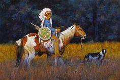 """""""Big Dog Little Dog""""  oil  36x24 western art / Fujiwara / Native American / kfgallery.com"""