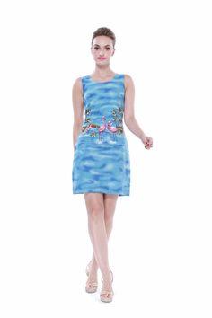 Made In Hawaii Women's Hawaiian Luau Tank Dress In Pink Flamingos In Blue
