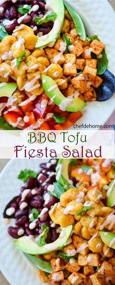 Vegetarian BBQ Tofu Salad with Lime-Cream Dressing | chefdehome.com