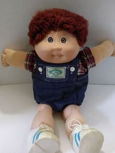 Little Fellow is up for Adoption - WOW 1985 Cabbage Patch Kid Boy Doll in Denim Overall Outfit with Dark Brown Hair - Vintage Cabbage Patch Kids Boy, 90s Kids, Kids Boys, Retro 2, Boy Doll, Vintage Hairstyles, Little People, The Ordinary, Vintage Toys