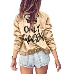 """We are absolutely loving this bang on trend bomber jacket with """"Only Queen"""" print on the back. Channel your inner yeezy vibes, featuring soft glossy fabric, you will never want to get out of this jack"""