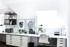 Mein Arbeitszimmer (nun auch gefühlt endlich fertig oh my a room: my home office with large wall-to-wall desk, Ikea ALEX cabinets and string shelf *** my home office with extra large desk, Ikea ALEX storage and String shelf