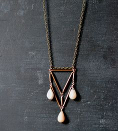 Triangular Brass Necklace with Pink Opals | Jewelry Necklaces | Wit  Pepper | Scoutmob Shoppe | Product Detail