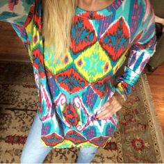 COLORFUL ROOMY LONG TUNIC TOP Gorgeous long tunic both in front and back!  Such a knockout!  Last one! Tops Tunics