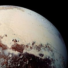 """This high-resolution image captured by #NASA's New Horizons spacecraft in July 2015 shows the bright expanse of the western lobe of #Pluto's """"heart,"""" or Sputnik Planitia, which is rich in nitrogen, carbon monoxide and methane ices. Scientists are wondering if it formed in an ancient impact basin and if it was once closer to the north pole. Does the icy heart conceal a subsurface ocean?"""