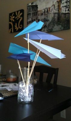 Blue and yellow airplanes? Paper Airplane Party, Airplane Decor, Paper Plane, Grad Parties, 2nd Birthday Parties, Boy Birthday, Planes Birthday, Planes Party, Safari Party