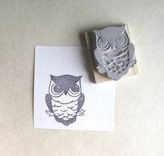 Little Owl  Hand Carved Rubber Stamp by extase on Etsy