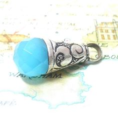Blue Quartz Gemstone Pendant - Looks like an ice cream cone!