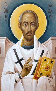 Άγιος Λάζαρος Religious Images, Religious Art, Byzantine Icons, Orthodox Icons, Mother Mary, Christian Art, Saints, Painting, Painting Art