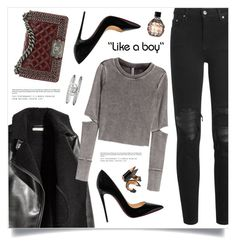 """""""Like A Boy"""" by marina-volaric ❤ liked on Polyvore featuring AMIRI, H&M, Chanel, Christian Louboutin, Gucci, Jimmy Choo and Bobbi Brown Cosmetics"""