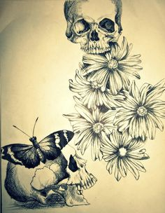 I want the top skull in the middle of all the daisies and make the daisies bright colors