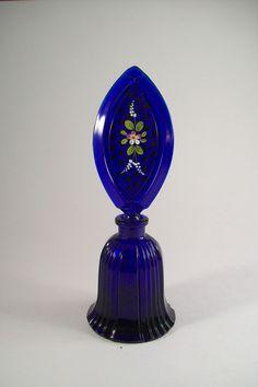 Vintage Czech Cobalt Blue ART Deco Glass Perfume Bottle Hand Painted Stopper   eBay love this color!!