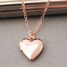 Heart Locket Necklace Rose Gold Locket Rose Gold Heart