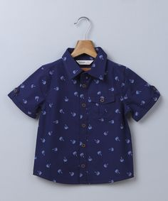 Navy Palm Button-Up - Infant Toddler & Boys
