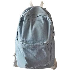 Light Blue Pocket Front Back To School Denim Backpack ($44) ❤ liked on Polyvore featuring bags, backpacks, denim backpack, denim rucksack, light blue bag, knapsack bag and pocket bag