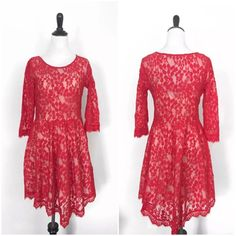 ⬇️❣PRICE DROP!❣⬇️ Free People Red Lace Dress Sz 8 Free People red lace dress w/ handkerchief hem & attached ivory/nude spaghetti strap full slip. Size 8. Sleeves unlined.  Excellent pre-owned condition! Only worn once!  ***PLEASE VIEW ALL PHOTOS AND ASK ANY QUESTIONS BEFORE SUBMITTING OFFER/BUYING!!***  Item comes from a smoke-free, pet-friendly home! Pls note that although I do my best to lint-roll/remove extra fibers, the occasional pet hair *may* sneak through.  Pls view my other items…