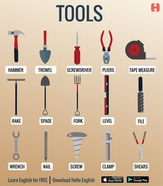 Tools and equipments English Speaking Skills, English Writing Skills, Learn English Grammar, English Vocabulary Words, Learn English Words, English Phrases, English Language Learning, English Study, English Lessons