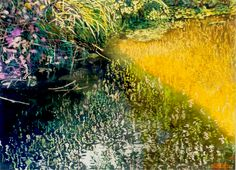 """sunlit streambank / jessie's stream (1) 16"""" x 22"""" micheal zarowsky watercolour on arches paper private collection Marsh Marigold, Arches Paper, Boats, Trees, Ocean, Paintings, Watercolor, Landscape, Abstract"""