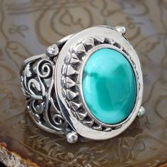 Ring Turquoise Silver Sterling 925 Mens Jewelry with natural Persian Turquoise #KaraJewels #Handmade