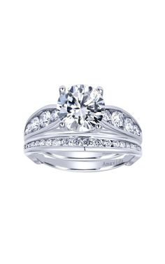 18k White Gold Contemporary Straight Engagement Ring