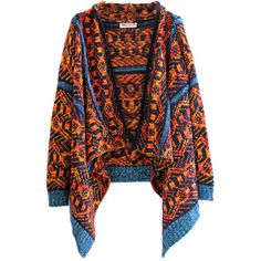 Vintage Geometric Pattern Blanket Wrap ($47) ❤ liked on Polyvore featuring tops, cardigans, outerwear, jackets, chicnova, sweaters, drape front top, waterfall top, geometric cardigan and chunky knit cardigan