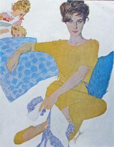 Joe Bowler  60 s Color Illustration  scarce print art   woman yellow dress  Original Magazine Art
