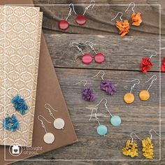 Here's a bright morning wake up call to start the day off right. Our Lupo Earrings are made from cantaloupe seeds and our Cholla Earrings are made from polished tagua.