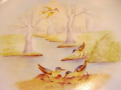 UNBELIEVABLE~ (7) Piece Limoges Game Set. ca.1903-1917 Hand Painted:Pitkin & Brooks Studio.  Beautiful Shore Birds in Marsh Land  Scenes. ~ Elite Works / Pitkin & Brooks