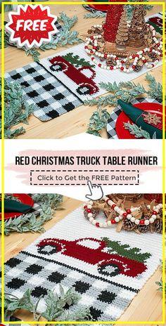 Crochet Christmas Garland, Christmas Afghan, Christmas Crochet Patterns, Christmas Knitting, Christmas Truck, Red Christmas, Christmas Crafts, Christmas Placemats, Christmas Items