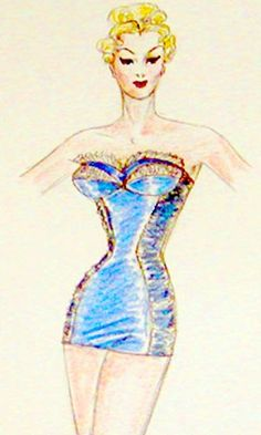 Original signed fashion sketch of Jantzen swimsuit from my collection of costume designer and fashion designer artwork Vintage Fashion Sketches, Fashion Illustration Sketches, Design Illustrations, Fashion Artwork, Fashion Prints, Fashion Drawings, Fashion Design, Vintage Bathing Suits, Vintage Swimsuits