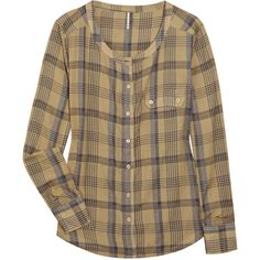 IRO Odote Checked Cotton Shirt ($51) ❤ liked on Polyvore featuring tops, shirts, blouses, blusas, women, long sleeve tops, extra long sleeve shirts, checkered shirt, curved hem shirt and round hem shirt