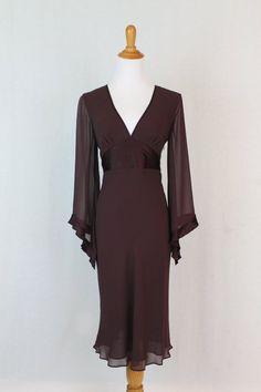 Vintage EXPRESS 1930's 40's Style Brown 100% Silk Bias Cut Angel Sleeve Dress…
