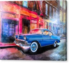 Classic Car Canvas Print featuring Classic Nights - 56 Chevy by Mark Tisdale