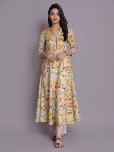 Beige Yellow Handloom Cotton Silk Kurta with Pants- Set of 2 Salwar Designs, Printed Kurti Designs, Silk Kurti Designs, Kurta Designs Women, Kurti Designs Party Wear, Long Dress Design, Dress Neck Designs, Designs For Dresses, Blouse Designs