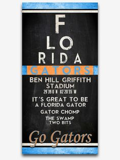 "Florida Gators UF inspired ""Eye Chart"" ART PRINT, Sports Wall Decor, man cave gift for him, Unframed"