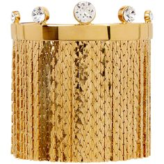 CA&LOU Karen fringed 24kt gold-plated bracelet (£335) ❤ liked on Polyvore featuring jewelry, bracelets, gold plated jewellery, swarovski crystal jewelry, gold plated jewelry, gold plated bangles and fringe jewelry