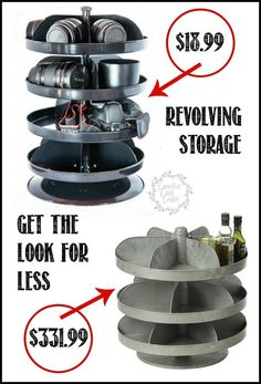 Revolving Storage, Get that Farmhouse Industrial Look Space Crafts, Home Crafts, Diy Home Decor, Craft Room Storage, Craft Organization, Storage Ideas, Industrial Farmhouse, Country Farmhouse, French Country