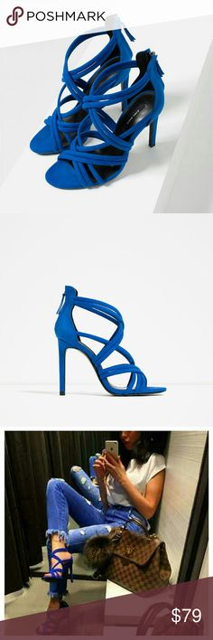 Zara strappy sandal (2666) New with tag.  EUR 39 US 8. UPPER 100% polyester.  LINING 100% polyester.  Sole 100% vulcanized rubber.  SLIPSOLE 80% goat leather 20% polyester. Zara Shoes