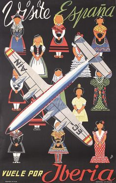 Great Original 50s Spain Travel Poster IBERIA Airl - by PosterConnection Inc.