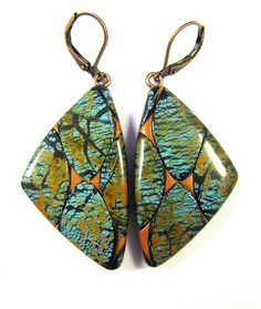 Fabulous Faux Collection - Marquise Mosaic Turquoise Earrings Butterfly Wings | Lynda Moseley, polymer clay.