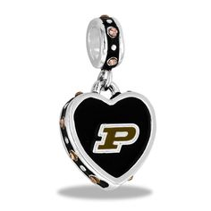 Purdue University Collegiate Team Silver Dangle with Crystals for Charm and Bead Necklaces or Bracelets  (HHPUR-1)