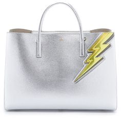 Anya Hindmarch Lightning Bolt Maxi Tote ($2,390) ❤ liked on Polyvore featuring bags, handbags, tote bags, silver metallic, metallic leather tote, genuine leather purse, genuine leather handbags, leather handbags and metallic handbags