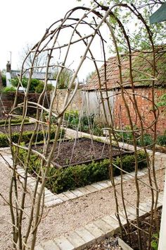 Woven arch-- The technique was the same as for creating willow arches - pair up similar size uprights, push the ends as far as possible into the ground and twist the top sections round each other to form archways. Then use very young whippy growth to weave in and out of the series of arches to strengthen the structure