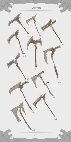 46 - types of weapons. Ninja Weapons, Anime Weapons, Fantasy Weapons, Fantasy Warrior, Fantasy Art, Weapon Concept Art, Armor Concept, Character Concept, Character Art