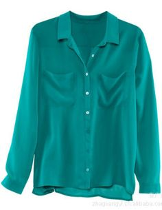 Turquoise Long Sleeve Twin Pockets Front Semi Sheer Blouse - Sheinside.com
