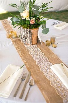rustic lace and burlap wedding table runner via kacie quesenberry