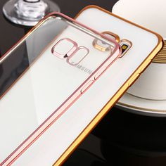 Luxury Coque For S 7 Electroplate PC Frame Transparent Clear Soft Silicone Case For Samsung Galaxy S7 G9300 Gold Cover Capinha