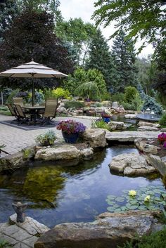 53 Relaxing Small Front Garden Design Ideas With Waterfall Use the info below to get started determining what you would like in your new landscape. In the event you've got a garden, you can design a small pond in it, as a way to enhance the touch of … Pool Garden, Water Garden, Backyard Water Feature, Ponds Backyard, Pond Landscaping, Landscaping With Rocks, Landscaping Design, Lazy River Pool, Small Front Gardens